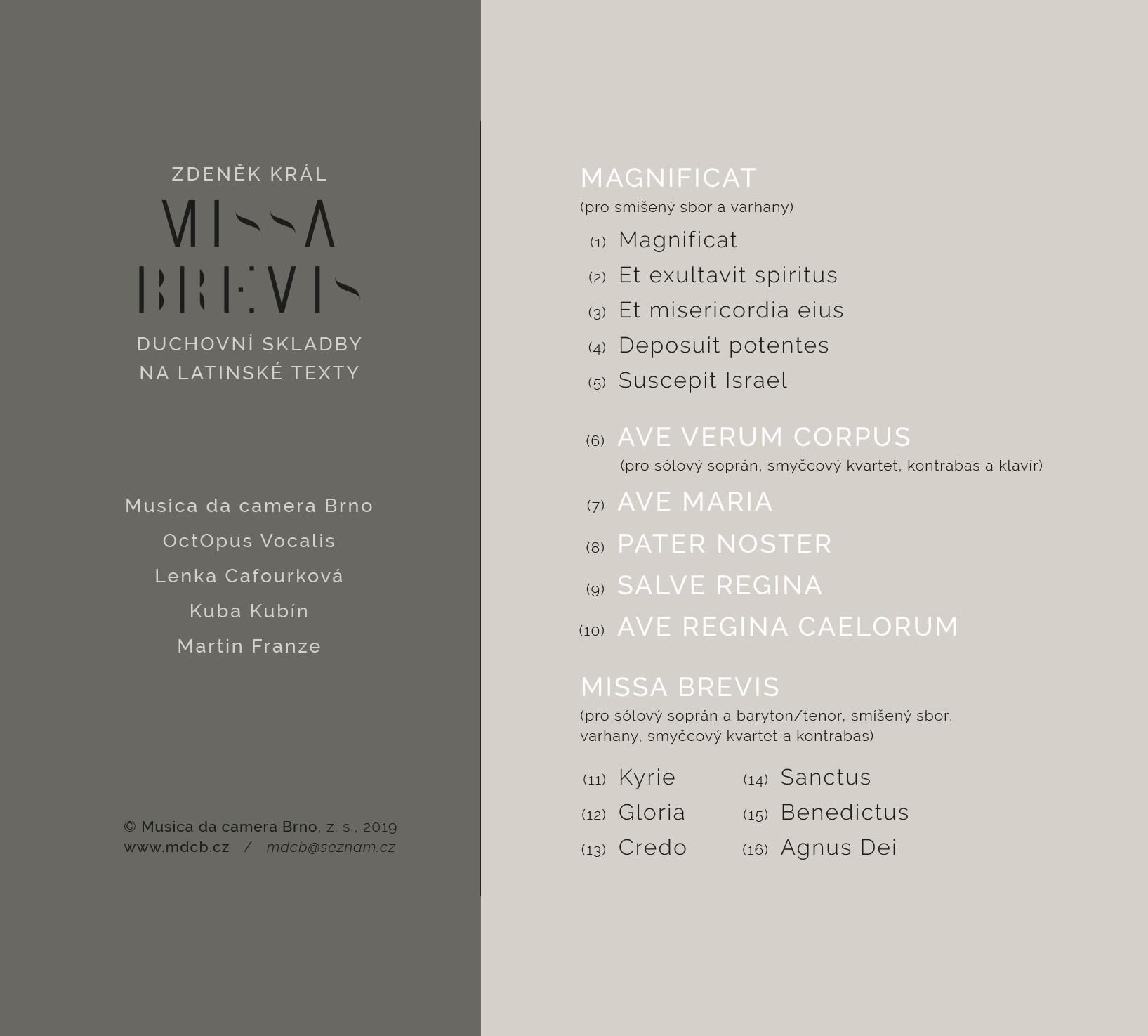 CD MISSA BREVIS již v prodeji !!!